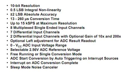 ADC Features - ATMEGA16/32