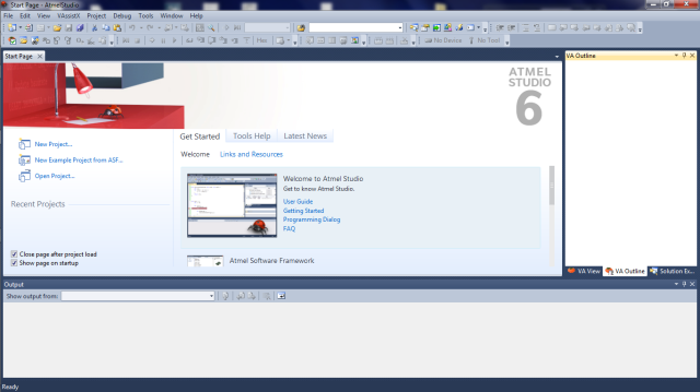 Atmel Studio 6 Start Page