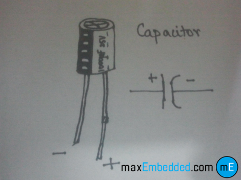 Schematic and illustration of a Capacitor