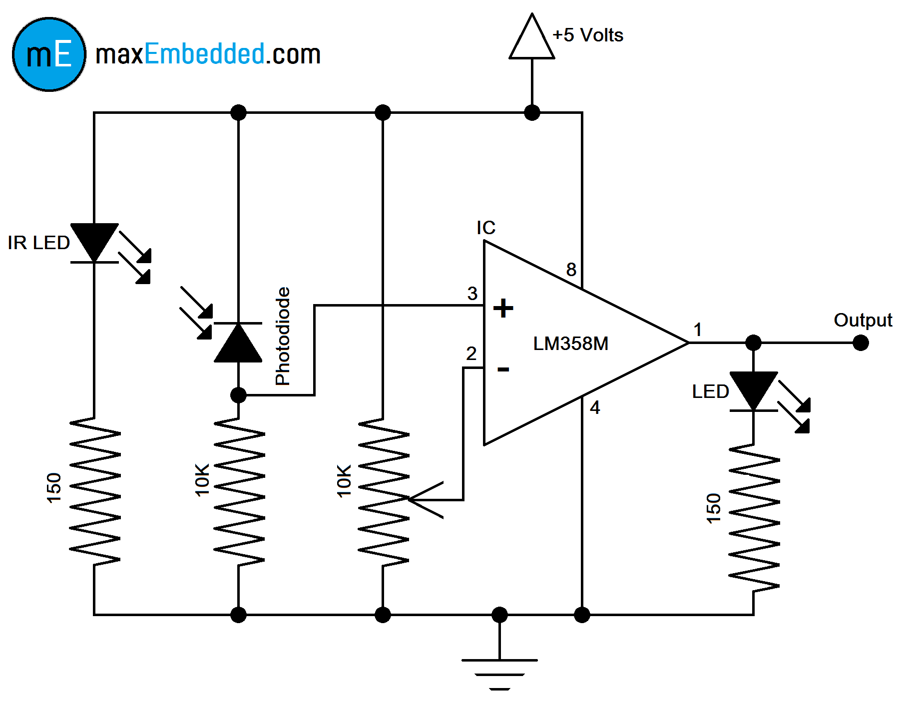 how to build an ir sensor maxembedded rh maxembedded com circuit diagram of ir sensor using lm358 circuit diagram of ir sensor