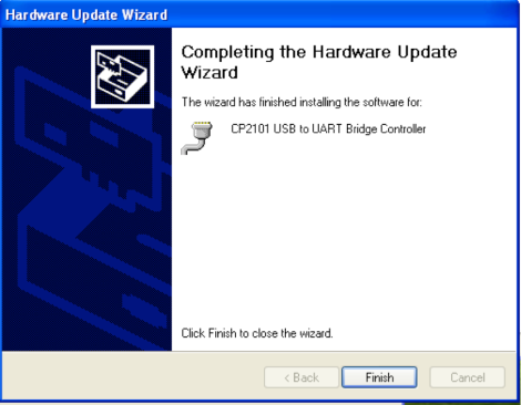 Hardware Update Wizard Finish - WinXP
