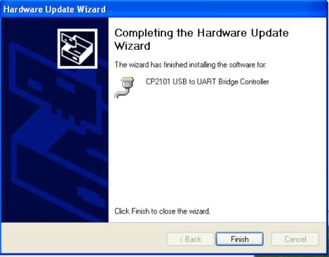 Hardware Update Wizard Finish - WinXP