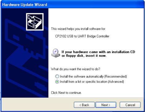 Hardware Update Wizard Install Location - WinXP