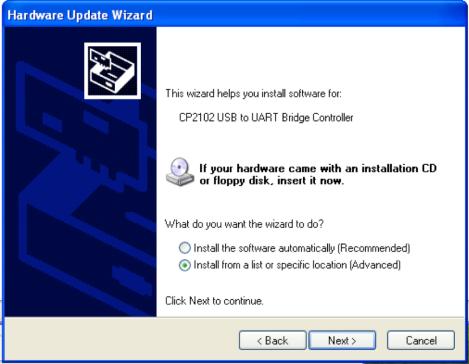 Hardware Update Wizard Install Location - WinXP