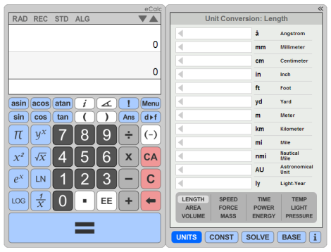 eCalc - Online Scientific Calculator with integrated Unit  Converter